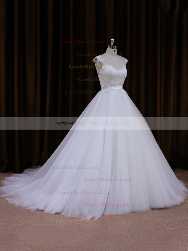 Ball Gown Tulle Appliques Lace Cathedral Train Ivory Elegant Wedding Dresses #LDB00021704