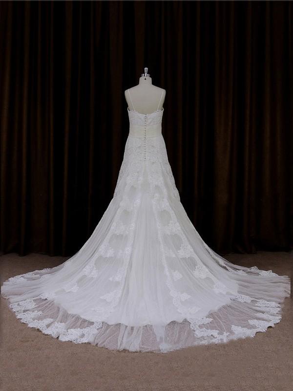 Chapel Train Sweetheart Spaghetti Straps Sashes/Ribbons Ivory Lace Wedding Dresses #LDB00021706