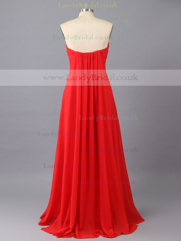 Red Watteau Train Chiffon with Ruffles Sweetheart Vintage Prom Dress #LDB02015992