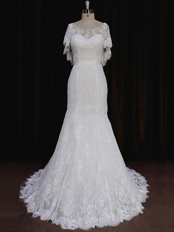 Trumpet/Mermaid Scoop Neck Lace Short Sleeve Unique Wedding Dresses #LDB00021714