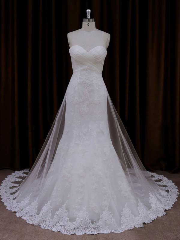 Ivory Sweetheart Lace Tulle Covered Button Trumpet/Mermaid Wedding Dresses #LDB00021717