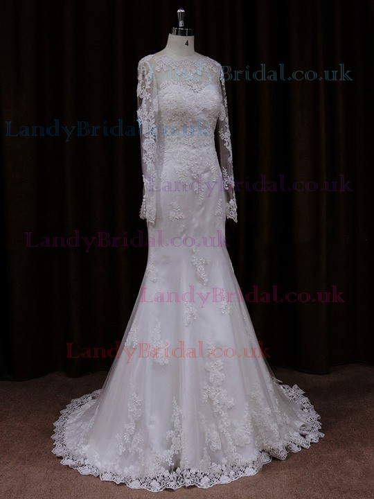 Hot Scalloped Neck Ivory Lace Long Sleeve Trumpet/Mermaid Wedding Dresses #LDB00021718