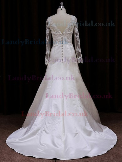 Scalloped Neck Tulle Elastic Woven Satin Appliques Lace Fashion Long Sleeve Wedding Dresses #LDB00021719
