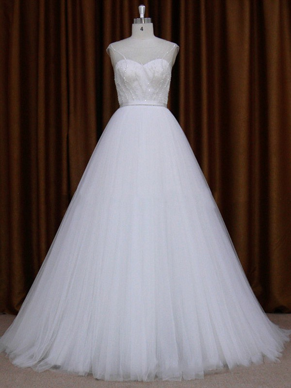 Ball Gown Scoop Neck Tulle with Beading White Wholesale Wedding Dresses #LDB00021720