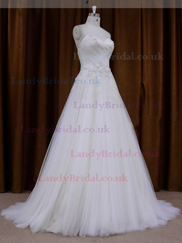 Promotion Sweetheart White Tulle Appliques Lace Princess Wedding Dresses #LDB00021721