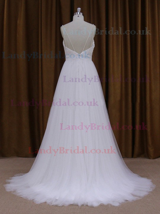 V-neck Tulle Court Train Appliques Lace Sexy Open Back Wedding Dresses #LDB00021722