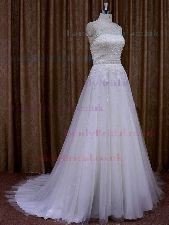 A-line Scoop Neck Tulle Appliques Lace Exclusive Ivory Wedding Dresses #LDB00021723