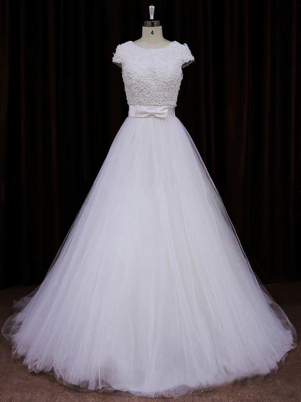 Princess Scoop Neck Tulle with Bow Ivory Cap Straps Top Wedding Dresses #LDB00021745