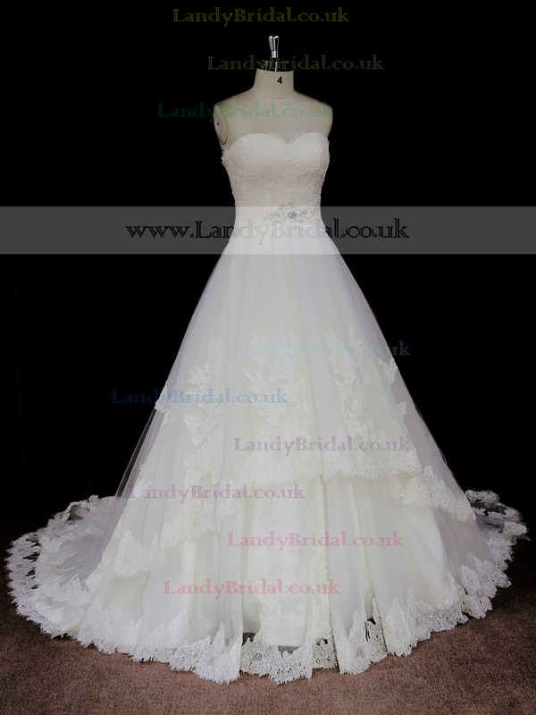 Newest Ivory Lace Tulle Chapel Train Ball Gown Wedding Dresses #LDB00021746