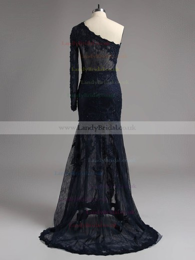 Ivory One Shoulder Lace Split Front Unique Long Sleeve Sweep Train Prom Dresses #LDB02015995