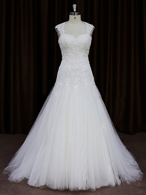 Open Back Sweetheart Tulle Appliques Lace A-line Popular Wedding Dresses #LDB00021750