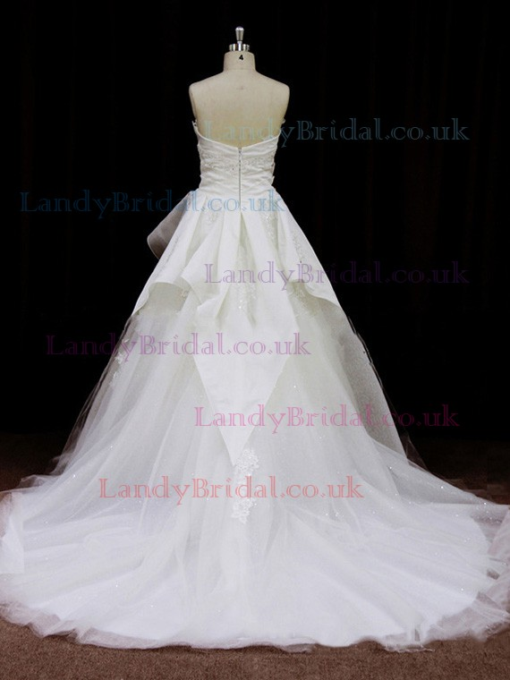 Beautiful Tulle Taffeta Appliques Lace A-line Scalloped Neck Wedding Dresses #LDB00021756