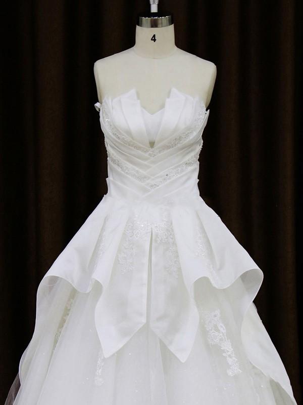 Beautiful Tulle Taffeta Appliques Lace A-line Scalloped Neck Wedding Dresses #LDB00021756