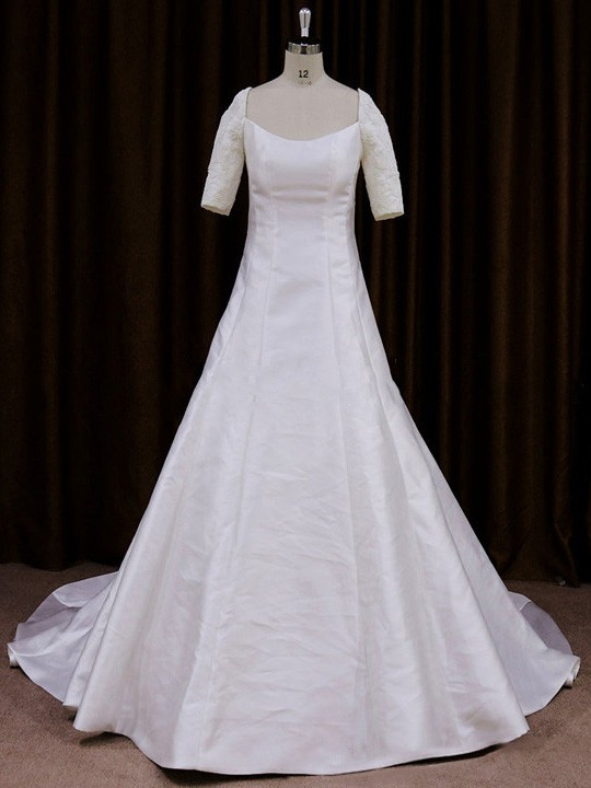 Square Neckline Satin with Appliques Lace Gorgeous 1/2 Sleeve Wedding Dresses #LDB00021760