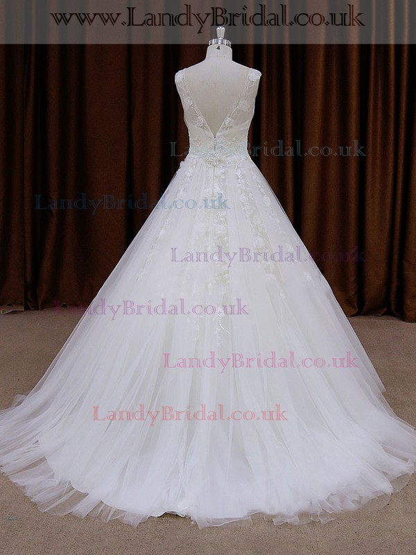 Amazing Ball Gown White Tulle Appliques Lace V-neck Wedding Dresses #LDB00021762