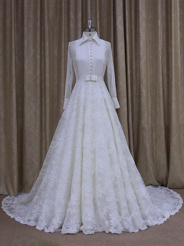 High Neck Nice Lace Chapel Train Ruffles Long Sleeve Wedding Dresses #LDB00021763