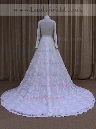 High Neck Nice Lace Chapel Train Ruffles Long Sleeve Wedding Dresses #LDB00021763