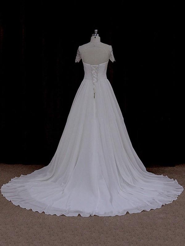 Scoop Neck Ivory Chiffon Appliques Lace Great Short Sleeve Wedding Dresses #LDB00021764
