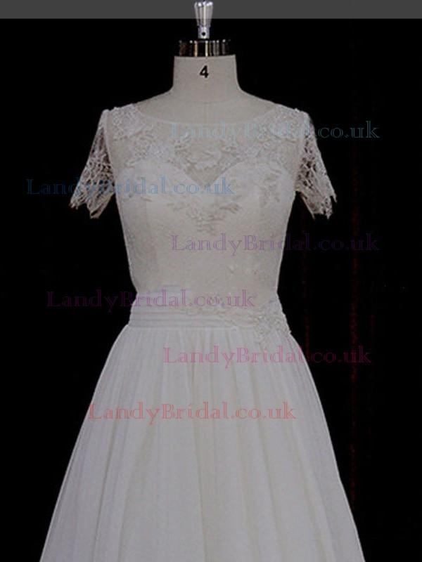 Scoop Neck Ivory Chiffon Appliques Lace Great Short Sleeve Wedding Dresses #LDB00021764