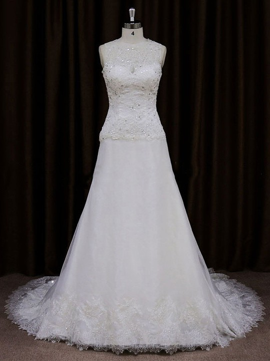Ivory Tulle Lace with Sequins A-line Scoop Neck Best Wedding Dresses #LDB00021765