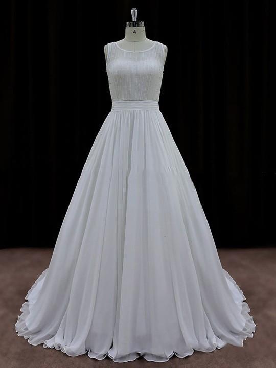 Cheap A-line Scoop Neck Chiffon Sequins Ivory Wedding Dresses #LDB00021767