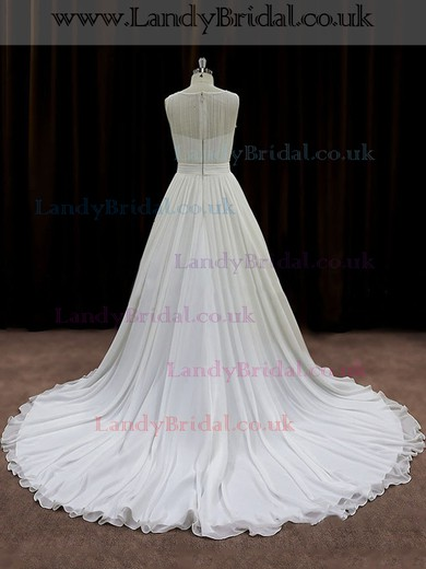 Cheap A-line Scoop Neck Chiffon Sequins Ivory Wedding Dresses #LDB00021767