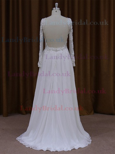 Latest Backless Scoop Neck Chiffon Tulle Appliques Lace Long Sleeve Wedding Dress #LDB00021768
