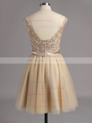 Modest Royal Blue Short/Mini Tulle with Appliques Lace Scoop Neck Prom Dresses #LDB02016005