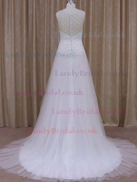 Scoop Neck Tulle Court Train with Beading White Online Wedding Dress #LDB00021770