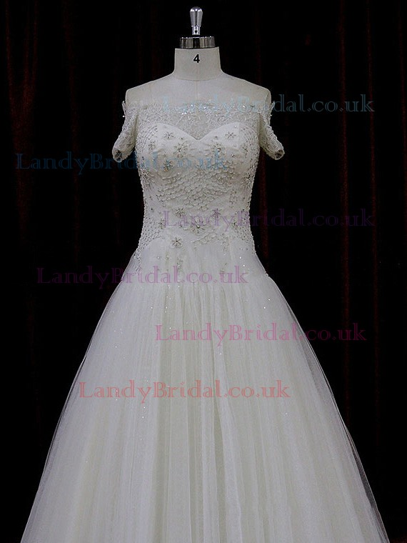 Off-the-shoulder Ivory Tulle Beading Court Train Short Sleeve Wedding Dress #LDB00021774