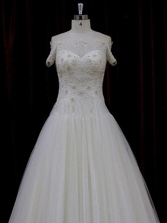 Off-the-shoulder Ivory Tulle Beading Court Train Short Sleeve Wedding Dress #LDB00021774
