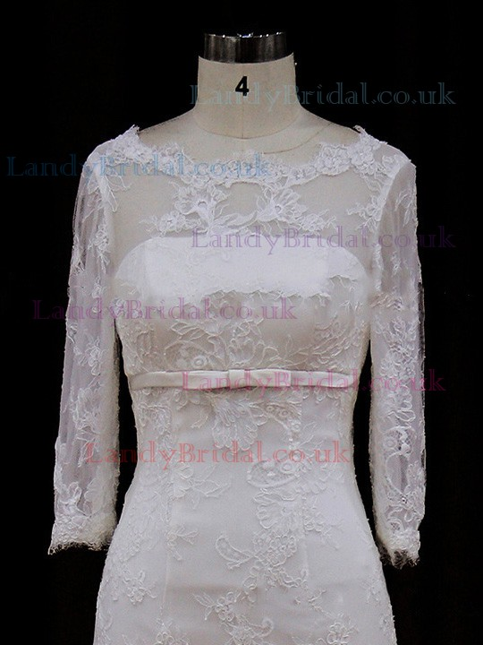 Scoop Neck Lace Tulle with Bow 3/4 Sleeve Watteau Train Wedding Dress #LDB00021777
