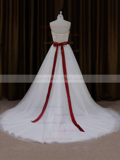 Sweetheart Tulle Sashes/Ribbons Lace-up Famous Ball Gown Wedding Dress #LDB00021779