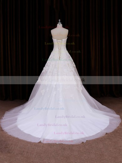 Vintage Ivory Ball Gown Tulle Appliques Lace Chapel Train Wedding Dress #LDB00021785