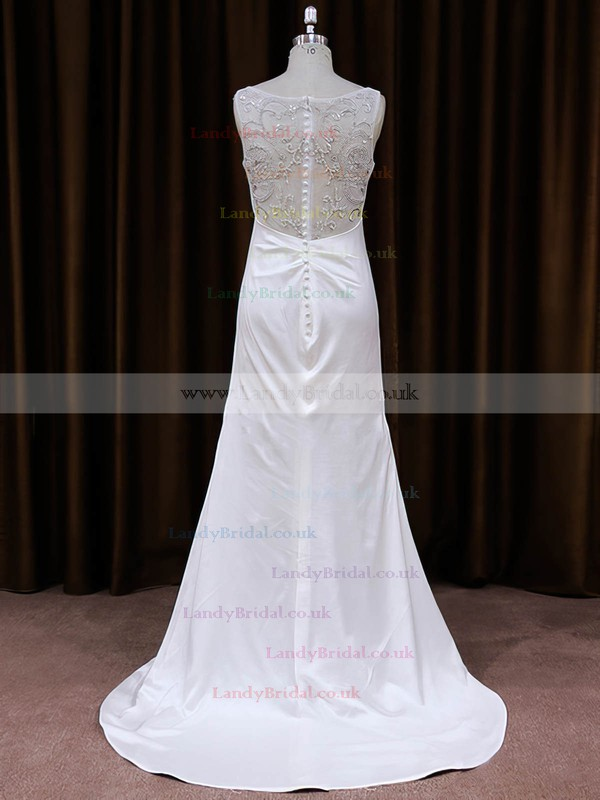 Unique V-neck Tulle Silk-like Satin Beading Sheath/Column Wedding Dress #LDB00021787