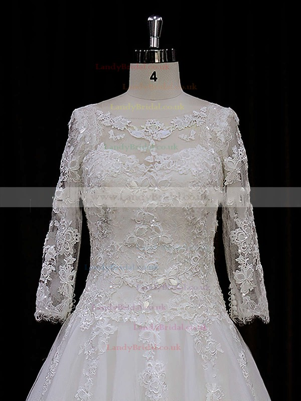 Chapel Train Scoop Neck Tulle Appliques Lace 3/4 Sleeve Wedding Dress #LDB00021788
