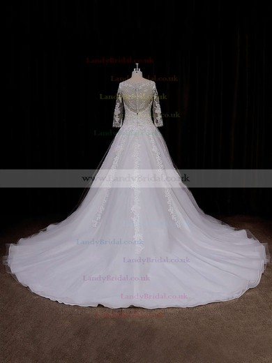 Chapel Train Scoop Neck Tulle Appliques Lace 3/4 Sleeve Wedding Dress #LDB00021788
