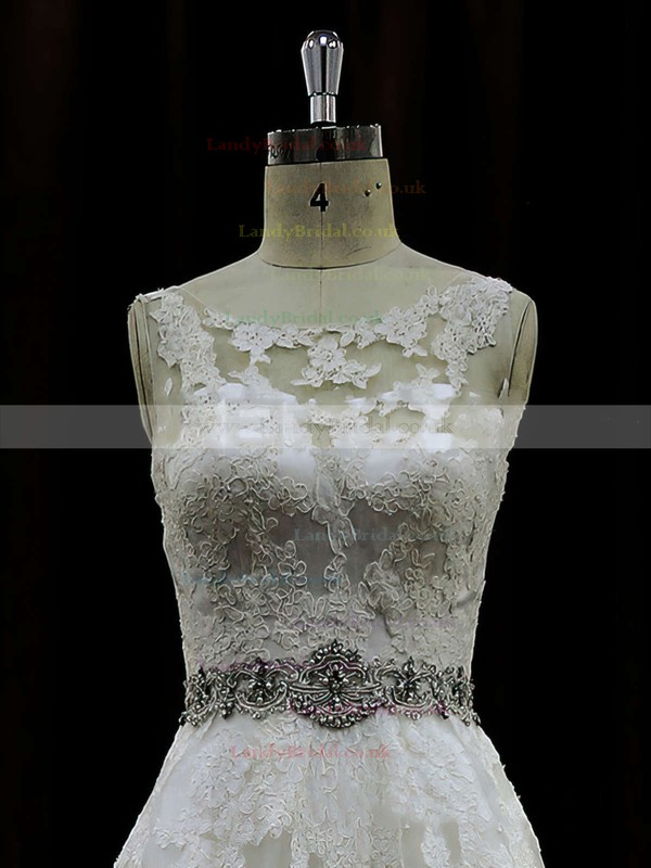 Scoop Neck Lace Beading Ivory Chapel Train Elegant Wedding Dress #LDB00021791