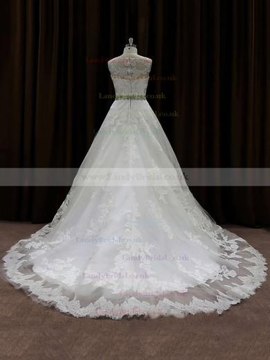 Scoop Neck Lace Beading Ivory Chapel Train Elegant Wedding Dress #LDB00021791