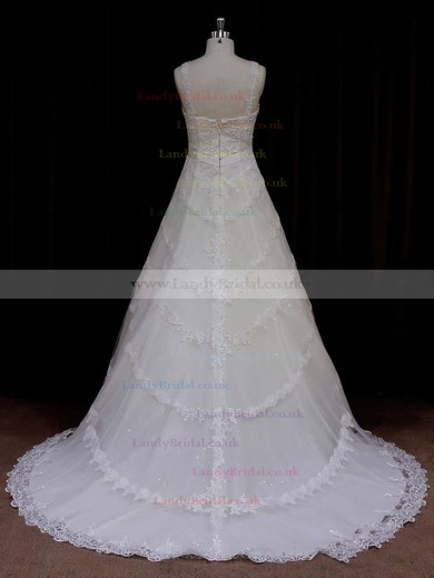 Sweetheart A-line Straps Lace with Sequins Affordable Wedding Dress #LDB00021796