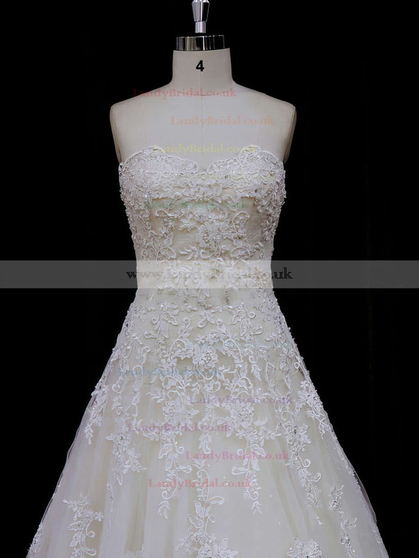 Princess Ivory Sweetheart Tulle Appliques Lace Hot Wedding Dress #LDB00021797
