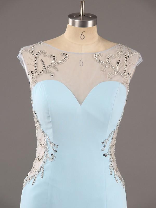 Cute Trumpet/Mermaid Chiffon Tulle Beading Open Back Light Sky Blue Scoop Neck Prom Dres #LDB02016013