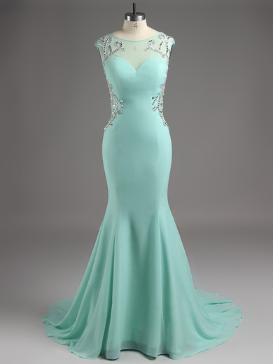 Cute Trumpet/Mermaid Chiffon Tulle Beading Open Back Light Sky Blue Scoop Neck Prom Dres #LDB02016013