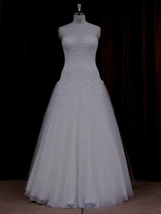 Perfect Sweetheart Lace-up Tulle Appliques Lace Floor-length Wedding Dress #LDB00021798