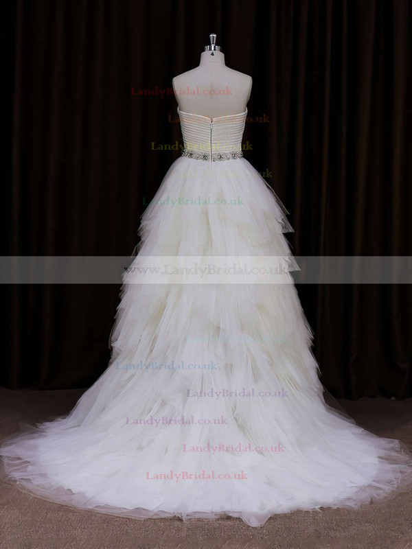 Sweetheart Tiered Tulle Court Train Beading Fashion Wedding Dress #LDB00021799