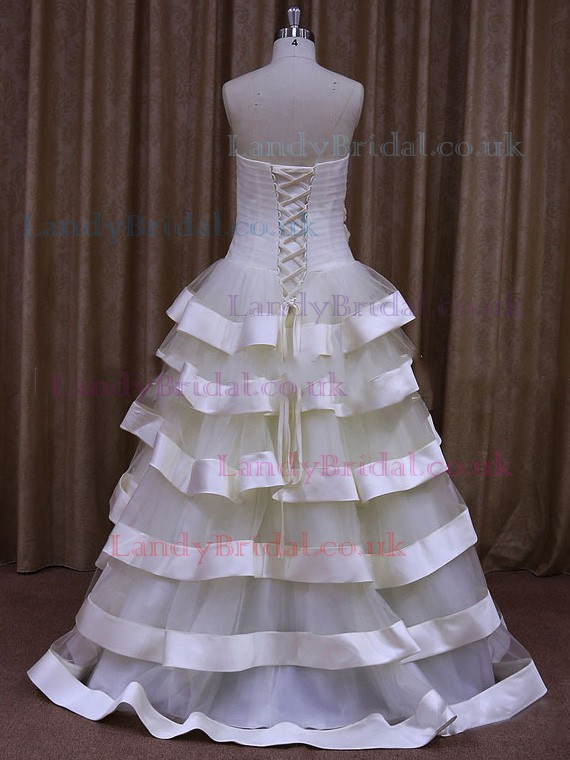 Different Floor-length Sweetheart Tulle Flower(s) Ivory Wedding Dress #LDB00021800