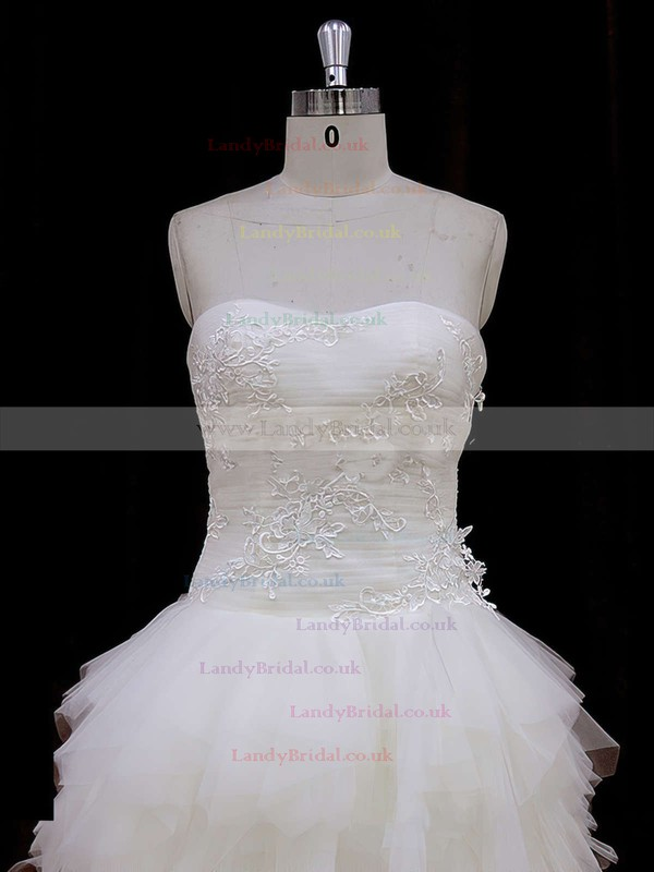 Asymmetrical Strapless Tulle Appliques Lace Newest High Low Wedding Dress #LDB00021802