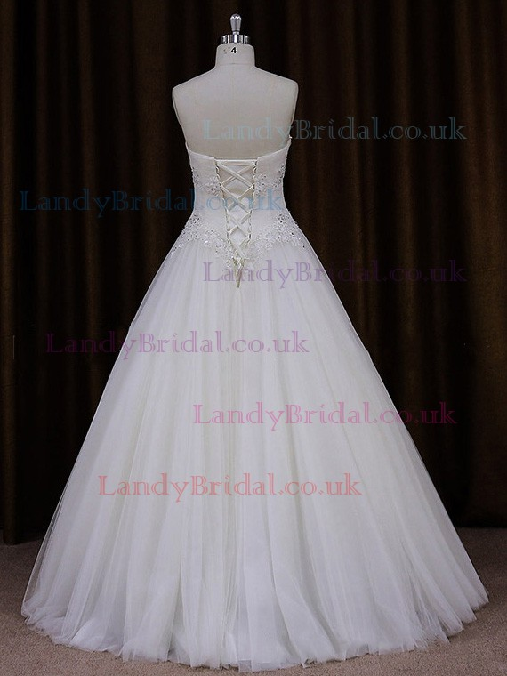 Sweetheart White Tulle Appliques Lace Sweet Ball Gown Wedding Dress #LDB00021809