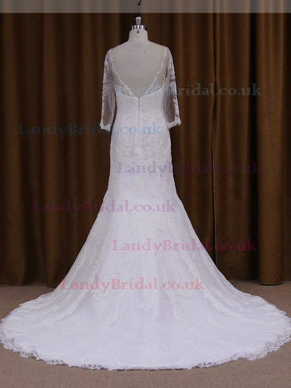 Lace Scoop Neck Open Back Long Sleeve Trumpet/Mermaid Wedding Dress #LDB00021811