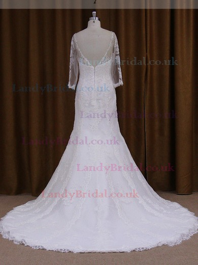 Lace Scoop Neck Open Back Long Sleeve Trumpet/Mermaid Wedding Dress #LDB00021811